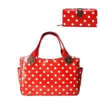 Commercio all'ingrosso- 1 X Polka puntini Day Shopper Tote Bag Hang + 1 X Polka puntini donne lungo borsa moneta femminile Oilcloth Materiale regalo 1 set