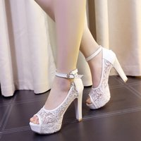 Wholesale Wedding Shoes Taiwan - 2017 Summer New Sexy Sandals female fish mouth high-heeled shoes gauze loafers thick with waterproof Taiwan female wedding shoes
