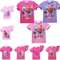 Wholesale Garments T Shirt For Kids - Summer Girls T-Shirt 2017 Hot Sale Kids Tees Cartoon Trolls Tops Short Sleeve Clothes Fashion Design Garment for Girls