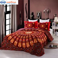 Wholesale Cotton Bedsheet Bedspread - Wholesale- Svetanya Bohemia Bedspread mandala print quilting embroidered 3pcs bedspread set blankets 230x230cm bedsheet Plaid