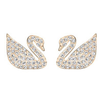Wholesale Alloy Swans Silver - Wholesale Price Rose Gold Silver Plated Austrian Crystal Swan Earrings for Women Animal Stud Earrings Wedding Jewelry High Quality
