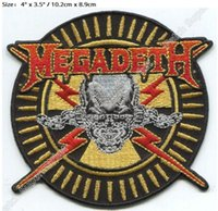 """Wholesale Skull Bolts - 4"""" MEGADETH skull bolts & bullets Iron On Patches For Clothing Embroidered Badge Music thrash metal band collection Dystopia"""