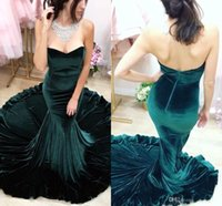 Wholesale velvet flower making - 2017 New Velvet Dark Green Mermaid Prom Dresses Vestidos De Fiesta Backless Sleeveless Court Train Sexy Evening Party Gowns Custom Made