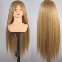 Wholesale Cosmetology Doll Heads - Mannequin Head Hair Yaki Synthetic Maniquin Hairdressing Doll Heads Cosmetology Mannequin Heads for Hairdresser