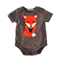 Wholesale Boys Pajamas Size 3t - New Fashion Summer Baby Newborn Cotton Short Sleeve Rompers Onesies Infant Toddler Fox Design Jumpsuits Boy Girl Children Kid Pajamas Outfit