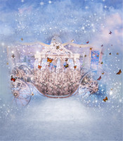 Wholesale photo spots - 10x10ft Dancing Butterflies Pumpkin Car Fairy Tale Princess Children Photo Backgrounds Light Spot Fond Bling Fantasy Backdrops for Weddings