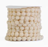 des garnitures pour coudre des perles achat en gros de-Type-3 1 Bobine Fleur Forme ABS Perle Guirlande Gâteau Bande Garniture Ruban Pour Coudre De Mariage Partie Centre de Table Décoration
