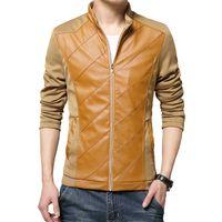 Wholesale Hot Mens Leather Pu Coat - Wholesale- Hot sale 2016 New spring and autumn Fashion Male Leather Jacket Plus Size XXXL 4XL 5XL Black Khaki Mens Mandarin Collar PU Coats