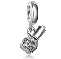 Wholesale Pandora Bottle Charm - Wholesale 30pcs Multicolour Crystal & Silver Charm Beads Finger Nail Bottle Pendant Fit European Pandora Charms Sterling Bracelet & Necklace