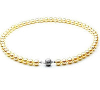 collar del mar del sur al por mayor-Naturales South Seas oro collar de perlas 8-9mm 18inch 925 Broche de Plata