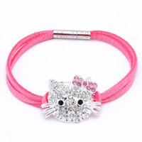 Wholesale Cute Kids Bracelets - Wholesale- New Fashion Cute Hello Kitty Bracelet Kids Girl Jewelry Bracelet For Women&Baby KT Cat Summer Style