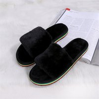 Atacado- Mulheres Men Cotton-Padded Toe aberto Floor Slipper Ladies Mujer Pantufas Sapato Inverno Warm Soft Plush Wool Lover Home Chinelos