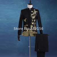 Wholesale Chinese Tunics Costume - Wholesale- Chinese Tunic Stand Collar Black Suits Men Festival Traditional Mandarin Embroidery Tuxedos Men's Stage Costumes(Jacket+Pants)