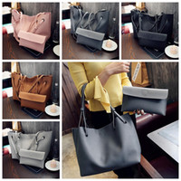 Wholesale tote purses wholesale - Women Shoulder Bags PU Leather Shopping Handbag Totes Satchel Retro Purse 2pcs set 5 Colors OOA2666