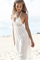 Wholesale White Sundresses For Beach - Maxi Dress Summer 2017 White Floral Strapless Sexy Ladies Backless Long Beach Dresses for Women Sundress Robe Longue Femme Ete