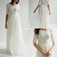 Wholesale sleeved beach wedding dresses for sale - Half Sleeves Lace Chiffon Modest Wedding Dresses Sleeved Bohemian A line Floor Length Jewel Neck Boho Bridal Dress Gowns Beach Wedding