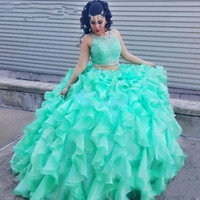 Wholesale turquoise organza prom dress - Two Piece Lace Turquoise Quinceanera Dresses With Beaded Crystal Organza Ball Gowns Sweet 16 Gowns Corset Formal Dress for 15 Year Prom 2017