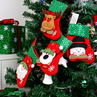 Sequin Christmas Stockings Gift Bags Papai Noel Candy Sock Xmas Tree Pendurado Ornamento Decoração Feliz Natal Snowman Reindeer Sequins