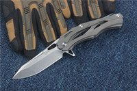 dobradiça tática venda por atacado-High End Transformadores Sobrevivência Tactical Flipper faca dobrável D2 60HRC Stonewash lâmina TC4 Titanium Handle EDC bolso facas dobráveis