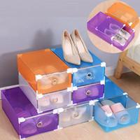 Wholesale Colorful Drawer - Multifunction Plastic Shoe Box Colorful Rectangle Storage Drawers Household DIY Organizer Storage Shoes Boxes Case YYA315