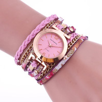 Wholesale Hand Woven Belts - Ladies Quartz Watch Alloy Analog New Women Long Strap style bracelet watches Hand woven metal bracelet chain crystal watches