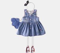 Wholesale Girl Sundress Jumper Skirt - 2017 New Arrival Summer Kids Clothes Girls Sweet Demin Sundress High Quality Jumper Skirt Flower Embroeidery Party Dress 6 Pcs lot Q0822
