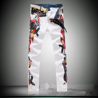 Wholesale Printed Skinny Jeans 28 - The 2017 wholesale men's four new white jeans men's feet are high elastic large Robin Jeans for men Free shipping