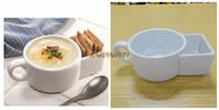 Wholesale Ceramic Soup Cups - Wholesale- 2pcs Porcelain Soup Cracker Bowl Cup Ceramic Soup & Cracker Mugs