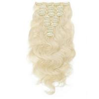 14-дюймовые светлые волосы оптовых-120 г клип в тело волны наращивание волос # 60 блондинка полный глава клип Индийский человеческих волос 14-26 дюймов DHL Бесплатная доставка