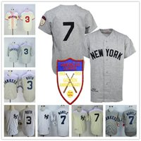 Wholesale Yankees Jersey Black - New York Yankees #7 Mickey Mantle 1951 Gray Road Cream Jersey #3 Babe Ruth 1929 Throwback White Braves Vintage Stitched 75TH Patch Jerseys