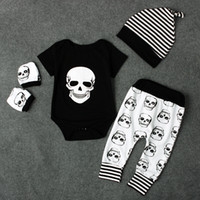 Wholesale Baby Hat Mitten Sets - Newborns baby skull printing romper 4pc set skeleton print mittens+romper top+loose pants+twisted striped hat cute baby Holloween outfits