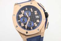 caixa de mergulho de aço venda por atacado-Luxo marca suíça mens limitada caixa de ouro offshore relógio cronógrafo de quartzo homens de aço inoxidável esporte oak james relógios de mergulho de couro azul