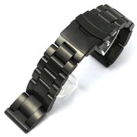 Wholesale Clap Watch - Wholesale- 24mm Watch Band Black Stainless Steel Strap for Hours with Folding Claps with Safty Watches Replacement GD013524