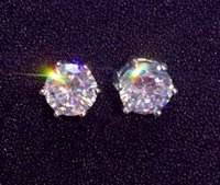 Wholesale Cheap Girls Studs - Earring 6 prongs white cubic zirconia for boy and girls fashion jewelry cheap stud earring 925 sterling silver Cute four claw hypoallergenic