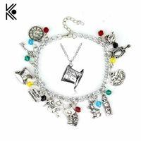Wholesale Alice Wonderland Charm - Alice In Wonderland Mad Hatter Charm Bracelet & Necklace Drink Me Alice Hat Brand Jewelry Gift For Fans Women Movie Jewelry