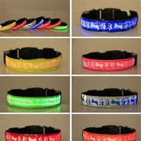 Wholesale Dog Bone Light - Flashing Pet Collars LED Dog Collars LED Flashing Adjustable Nylon collar safety collars footprint bone pattern pet Night safety collar