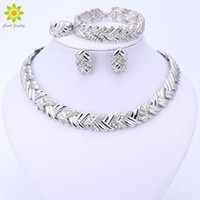 Wholesale Costume Big Necklace Sets - 2017 Fashion Dubai Silver Plated Jewelry Sets Costume Big Design Nigerian Wedding African Beads Necklace Earrings Jewelry Sets