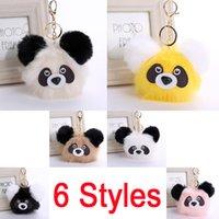 Wholesale Charm Plush Bear - Fashion Plush Panda Doll Key Chain Ring Faux Rabbit Fur Pompom Bear Bag Charms Keychain Car Bag Keyring 6 Styles Women Gift D32Q