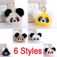 Wholesale Panda Plush Keychain - Fashion Plush Panda Doll Key Chain Ring Faux Rabbit Fur Pompom Bear Bag Charms Keychain Car Bag Keyring 6 Styles Women Gift D32Q
