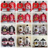 Ice Hockey black pierre - Men Throwback Bobby Hull Jersey Hockey Chicago Blackhawks Vintage CCM Pierre Pilote Martin Havlat Steve Larmer Red White Black