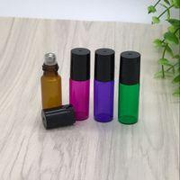 ingrosso bottiglie di vetro blu profumi-5 ml 1 / 6oz di spessore ambra verde viola blu rullo di vetro su bottiglie di olio essenziale bottiglie di profumo vuote con sfera in acciaio inossidabile di vetro
