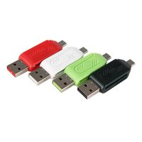 Wholesale sd card extension - Handisk 2 in 1 USB OTG Card Reader Micro USB TF SD Card Reader Phone Extension Headers Flash Drive Adapter For Smartphone PC 4 Color ER002