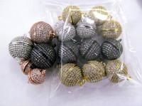 schmuck magnetischen stecker großhandel-12pcs 8-16mm Micro Kristall ebnen Diamant Haken Magnetic Jewelry Clasp Round Ball Rose Gold Antik Silber Gunmetal Connector