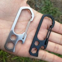 Wholesale Rock Equipment - Outdoor Camping Equipment Hiking 6 in 1 Climbing Hook Carabiner Mountaineering Buckle With Screwdrive Multi - Function Key Chain Opener