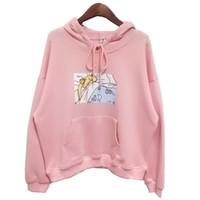 Wholesale japanese pink girls - 2017 new Pink White Women Hoodies Japanese Sailor Moon Printed Pullover Girls Kawaii Cute Harajuku Sweatshirt Loose Full sleeve