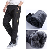 Wholesale inside pants - Wholesale- Brand Mens Wool Pants are Straight in Autumn and Winter Thick Pants Men Quick Drying Warm Fleece Pants Male Wool Inside Trousers