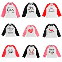 Wholesale Girl Tees - Ins Kids T-shirts Long-sleeve 29 Colors Fashion Letters Cartoon Print Baby Boys Girls Tees Kids Tops Clothes 1-5T
