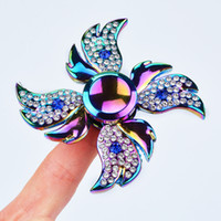 Wholesale Rainbow Wings - Best Rainbow Angel Wings Diamond Fidget Hand Spinner Puzzle Gyro Toy Floral Time Killer EDC Focus Finger Spinner For Kids Adult ADHD Autism
