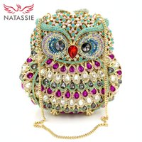 Wholesale Evening Cluth - Wholesale-New Arrival Fashion Luxury Crystal Women Cluth Animal Prints Handbag Lady Evening Bag With Chain Owl High Quality Party Purse