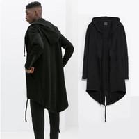Wholesale Hem Design Coats - Wholesale-Mens XXXXL hoodie coats Europe street clothing in the long section dovetail hem design big size black cloak hoodies coat